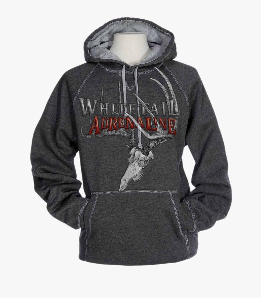 ac713a1da9 Heavyweight Grey Cross Stitch Hoodie | 200 Buck Design - Whitetail  Adrenaline Men's Sweatshirts, Hoodies