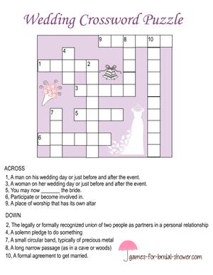 Free Printable Wedding Crossword Puzzle Wedding Crossword Puzzle Free Wedding Printables Crossword