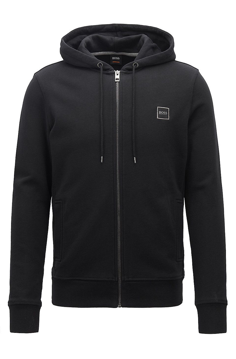 dfc5d944 HUGO BOSS Hooded jacket in French terry with ribbed inserts - Black  Tracksuits from BOSS for Men in the official HUGO BOSS Online Store free  shipping