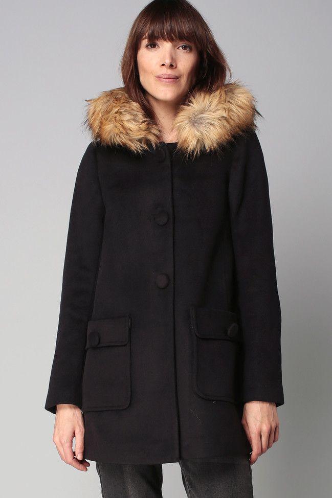 Manteau femme fourrure capuche