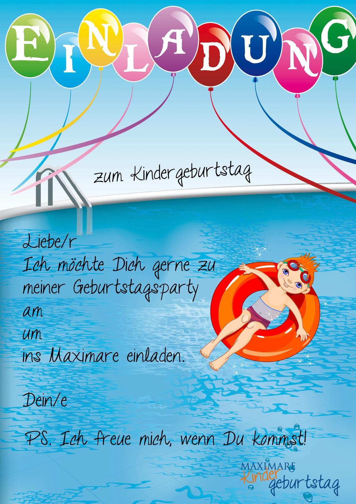 einladung kindergeburtstag schwimmen basteln | geburtstag, Einladung