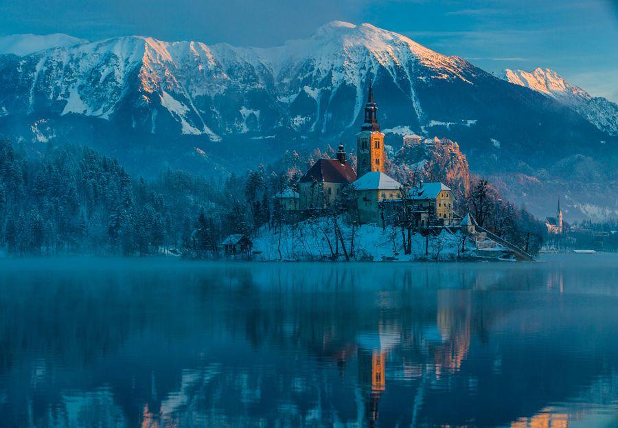 The Church Of The Assumption, Lake Bled, Julian Alps, Slovenia ~ by Ruzdi Ekenheim