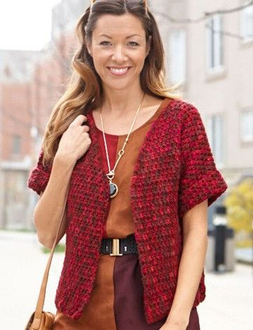 Yarnspirations.com - Caron Anywhere Short-Sleeved Cardi - Patterns | Yarnspirations FREE PATTERN