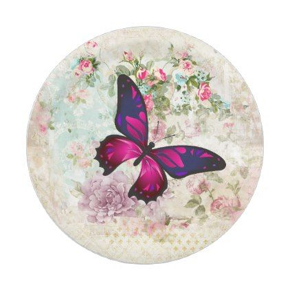 Pink Butterfly and Shabby Vintage Roses Paper Plate - rose style ...