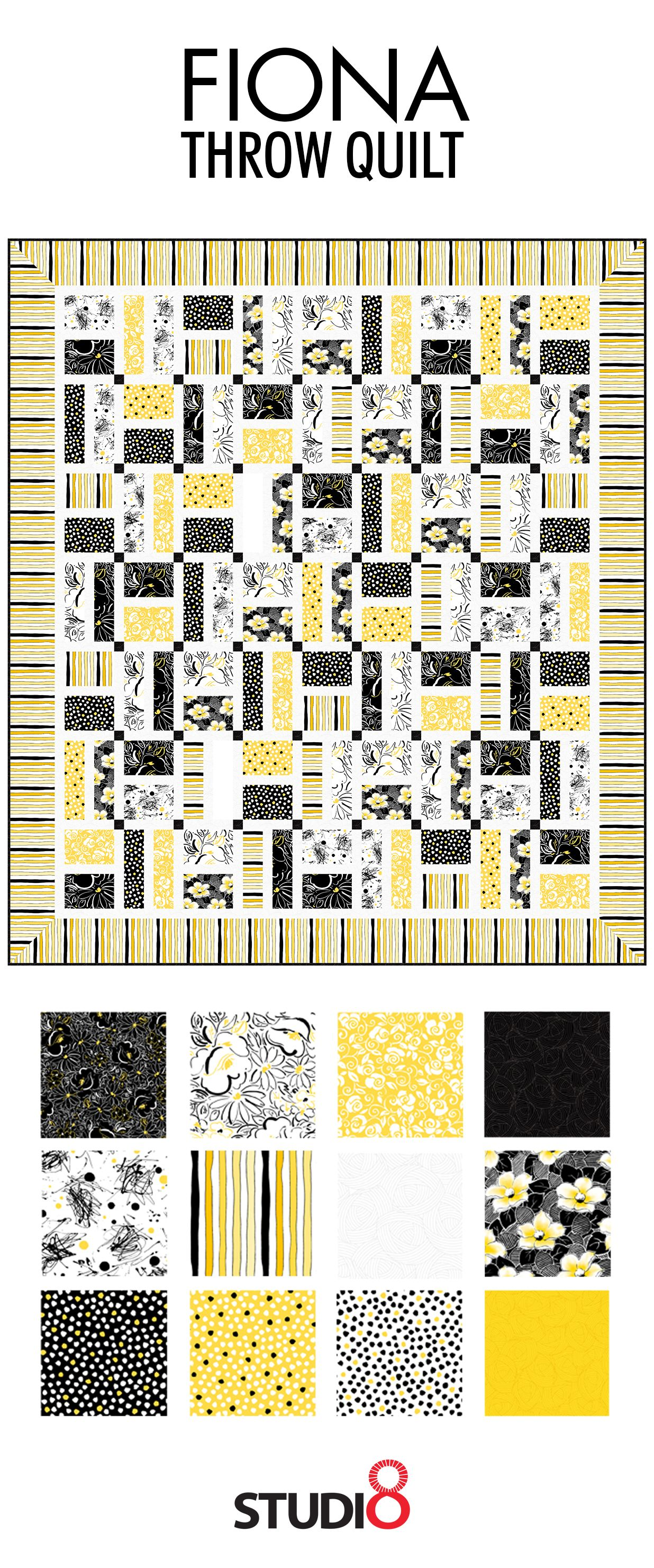 Make This Trendy Fiona Throw Quilt Today Using Our Free Quilt Pattern! This  Color Palette Of Yellow, White, And Black Will Add A Chic Pop To Any Room!