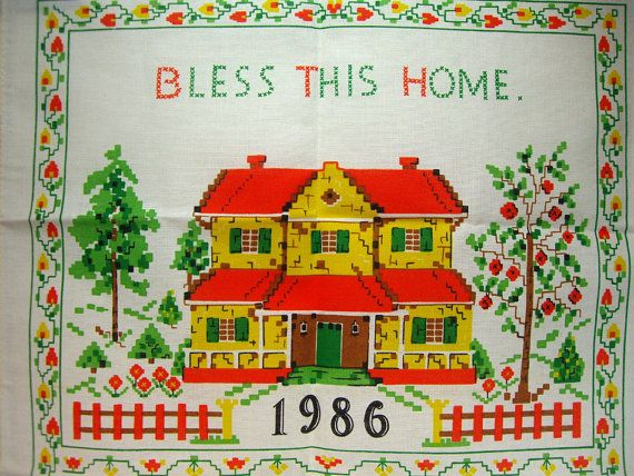Bless This Home 1986 Calendar Tea Towel Vintage Linens Vintage