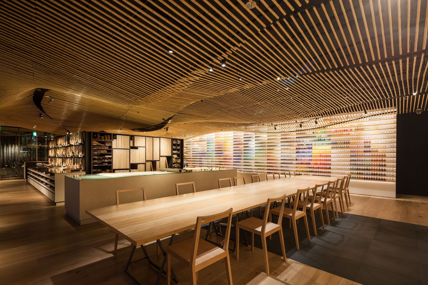 Kengo Kuma Designed A Wave Of Bamboo For The Interior Of Pigment