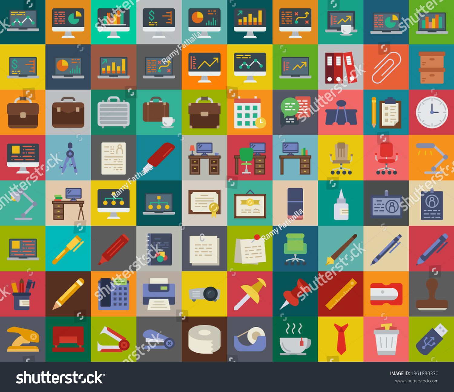 Business and Office icons set illustration pack of