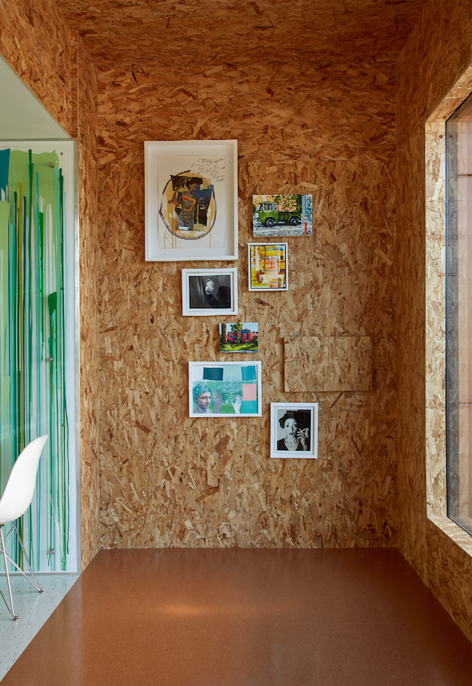 Particle Board Walls And Ceiling Stripe Cafe Designed By Doug Meyer Tiny House Layout Chipboard Interior Barn Decor