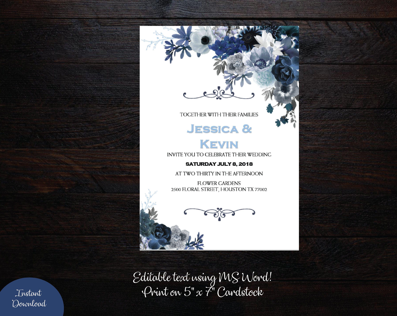 Winter Blues Wedding Invitation 5x7 Wedding Template