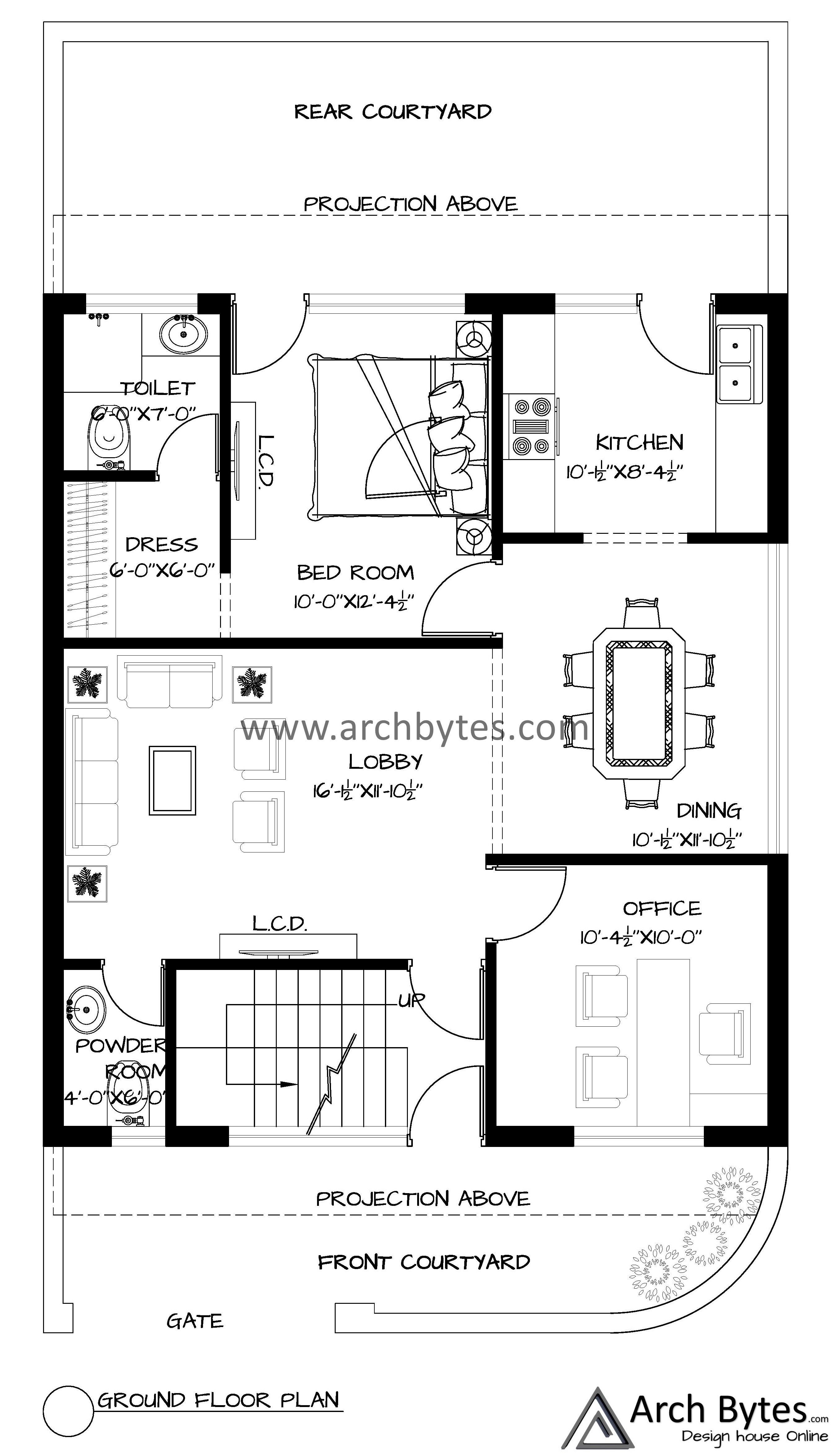 House Plan For 28x50 Feet Plot Size 155 Square Yards Gaj Option 2 House Plans How To Plan Floor Layout