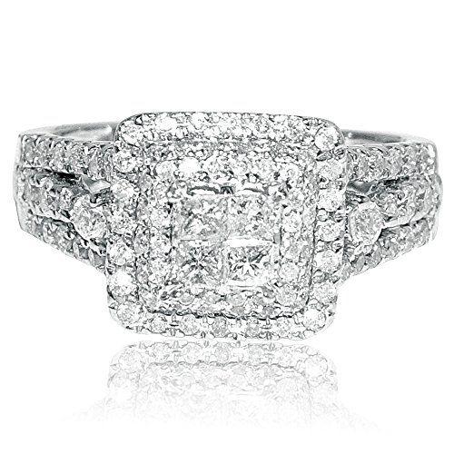 Eery Jewelry | 1ct Princess Cut Diamond Wedding Ring White Gold 14K 11mm Big Square Halo Vintage Inspired  <3 <3 <3