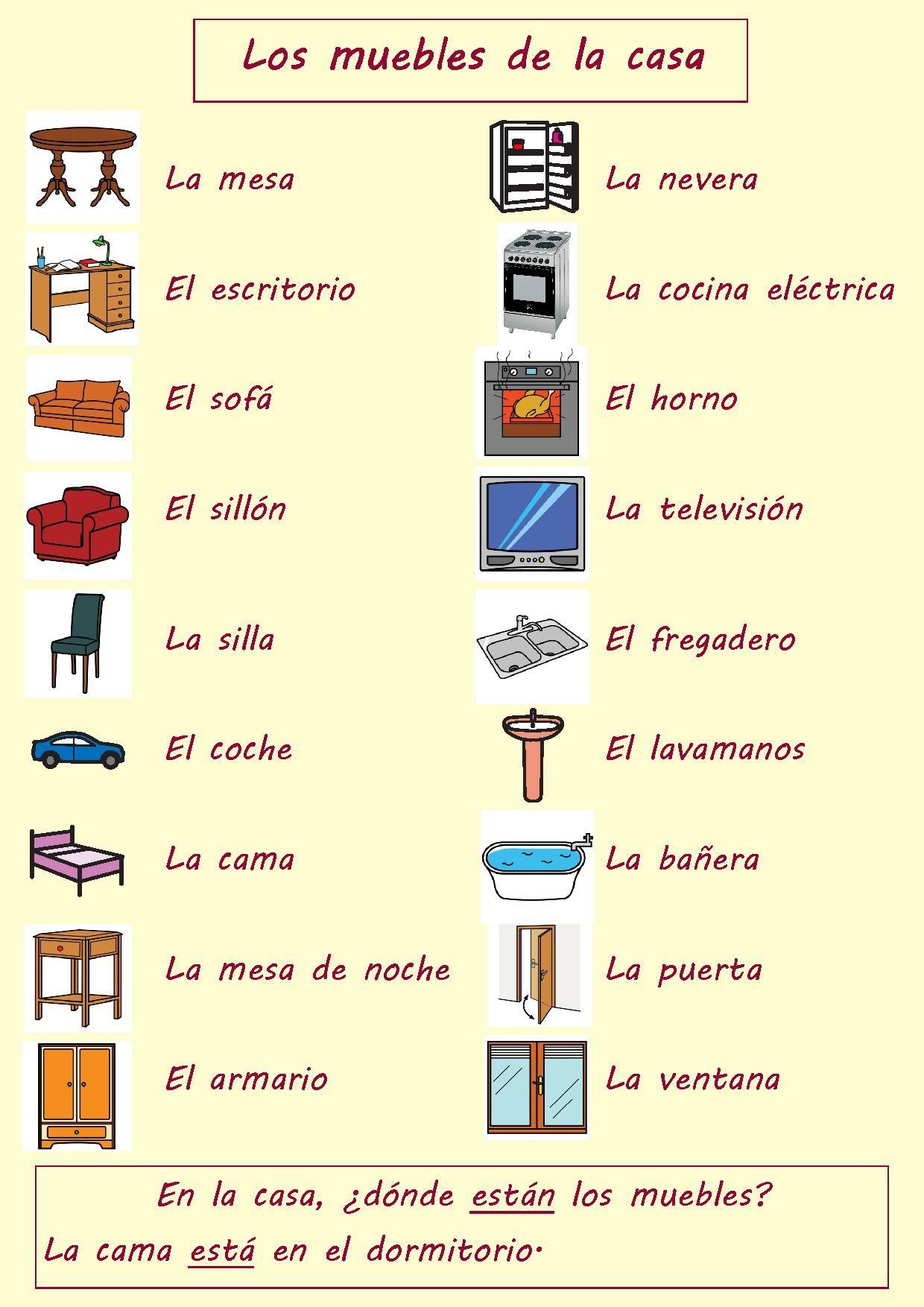 Los muebles de la casa | Español-practica | Spanish vocabulary ...