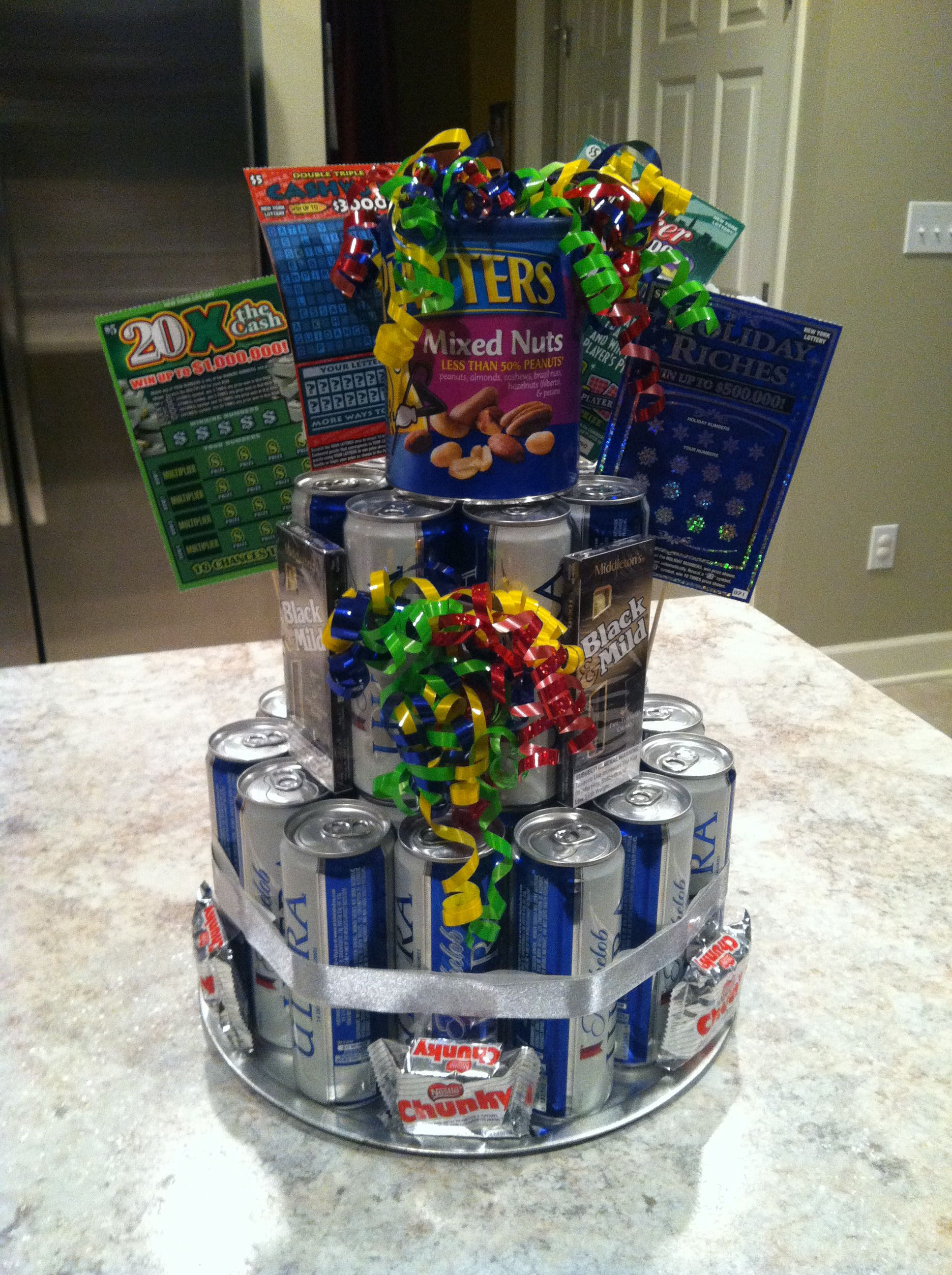 Ideas for my dad's 50th bday...would have to swap the beer for mini wine bottles!
