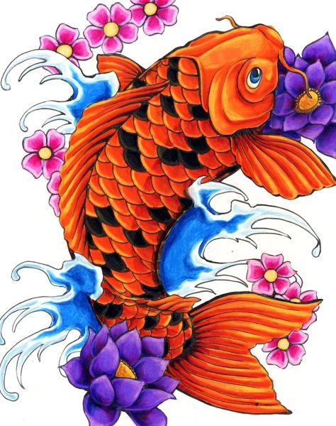 Koi fish flower tattoo i want it but in cotton candy for Koi fish colors