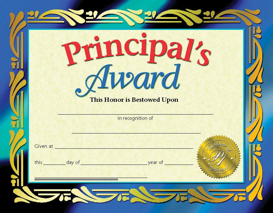 PrincipalS Award Certificate  Graduation  End Of Year Ideas