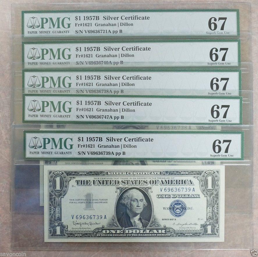 Lot of (5) Five 1957 B $1 #Silver Certificate Blue Seal Fr#1621 ppB ...