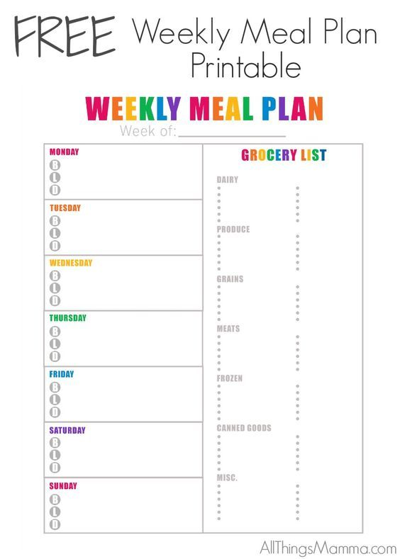create a meal plan template