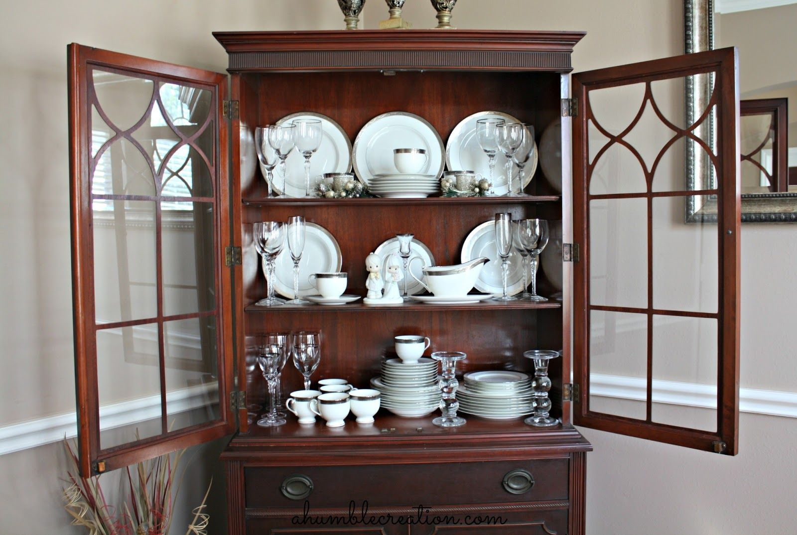 A Second Picture Of How To Arrange My Dining Cabinet Humble Creation If These Dishes Could Speak