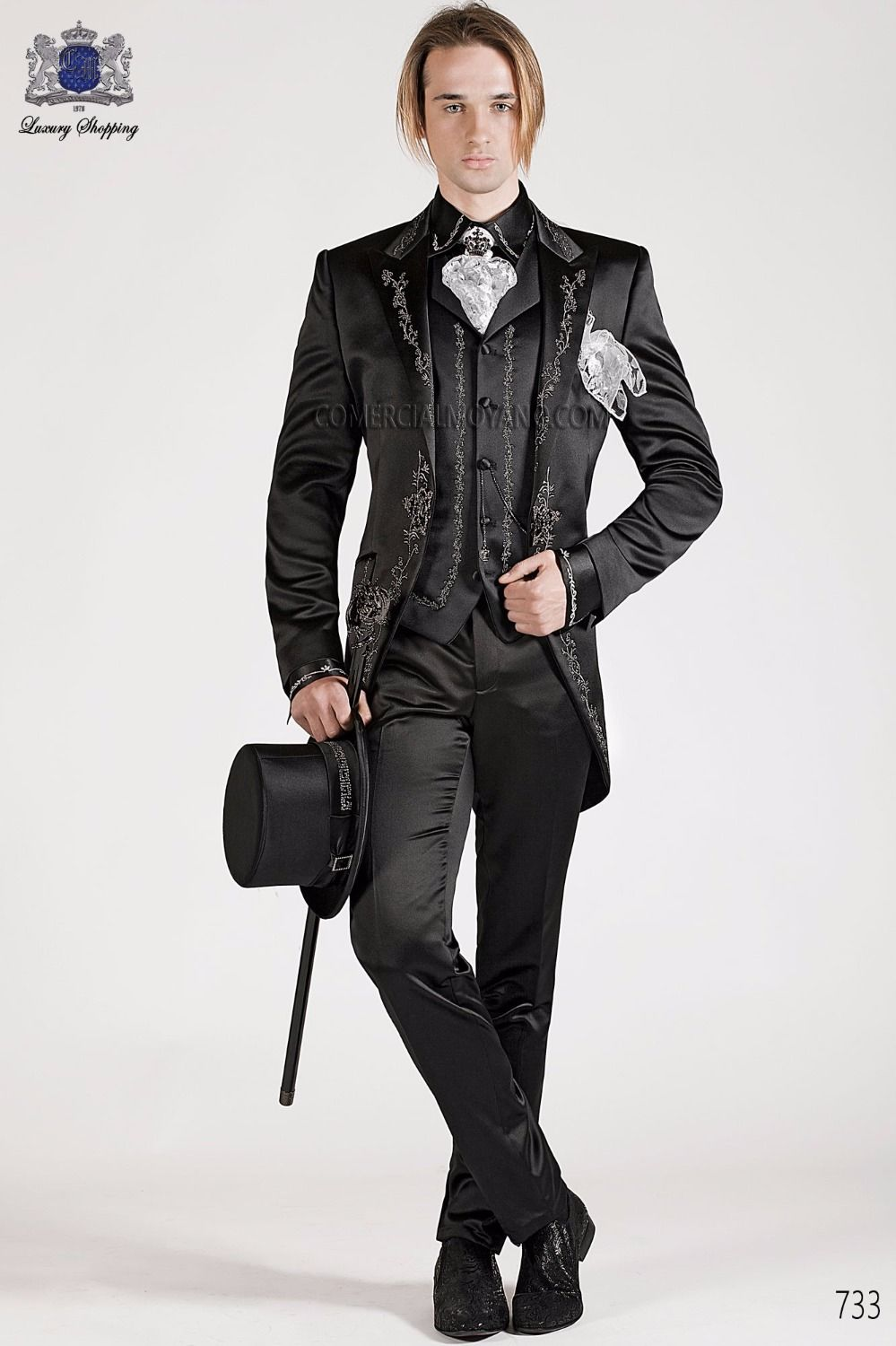 Latest coat pant designs black embroidery tailcoat italian formal