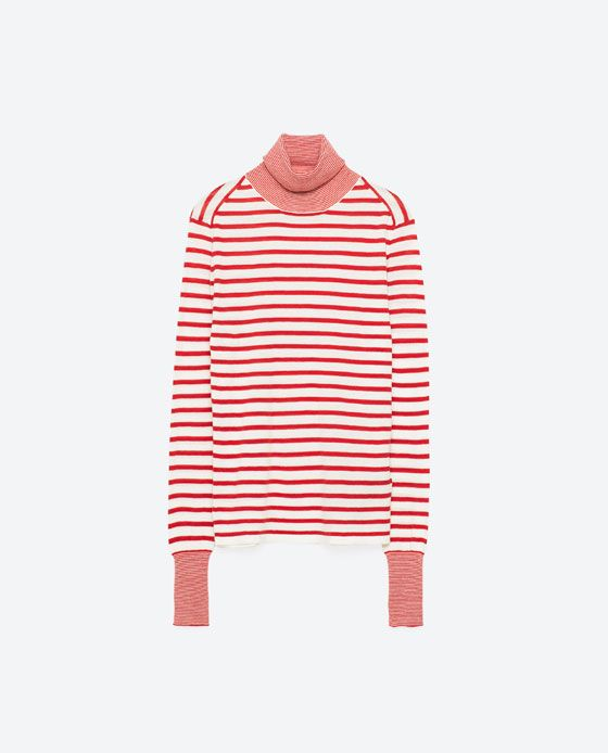Image 8 of MULTI-STRIPE POLO NECK SWEATER from Zara