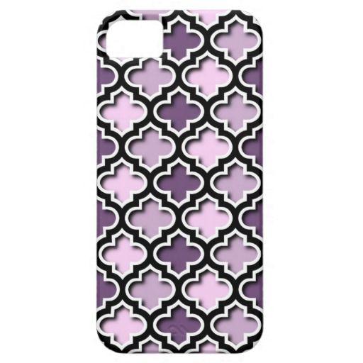 Chic Purple Pink Violet Quatrefoil Mosaic Pattern Apple iPhone SE + 5/5S case