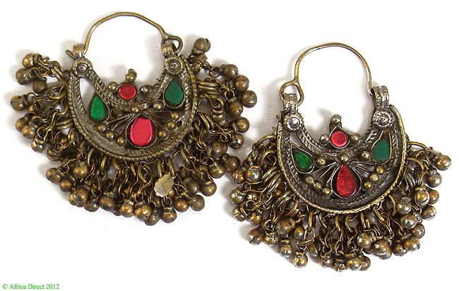 ☮ American Hippie Bohemian Style ~ Boho Jewelry .. Kuchi Gypsy Crescent Earrings Glass Inlays Afghanistan
