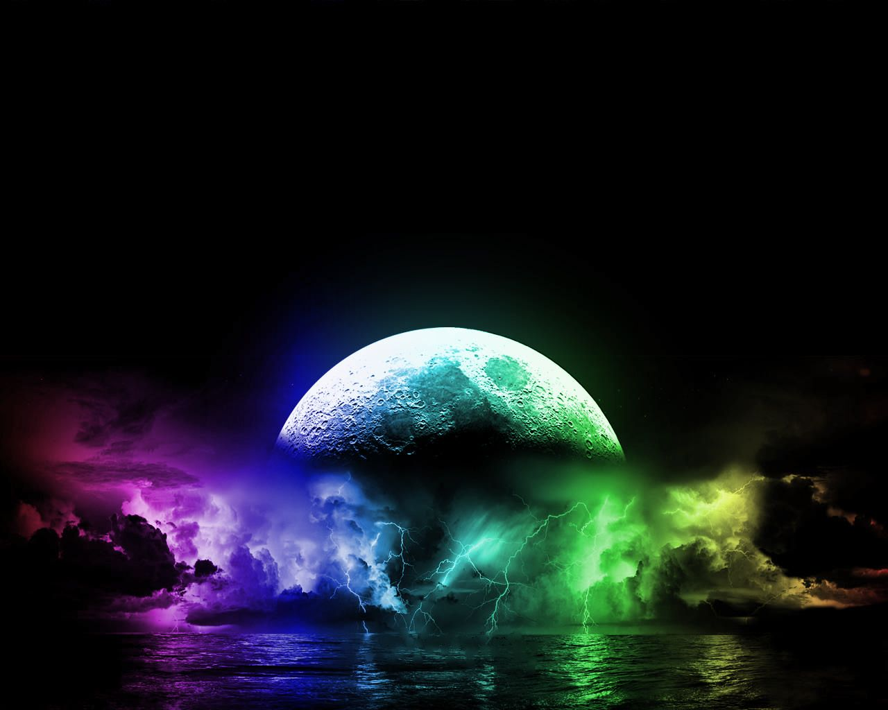 Cool Lightning Backgrounds | ... , download wallpaper, A really cool and colorful moon and lightning