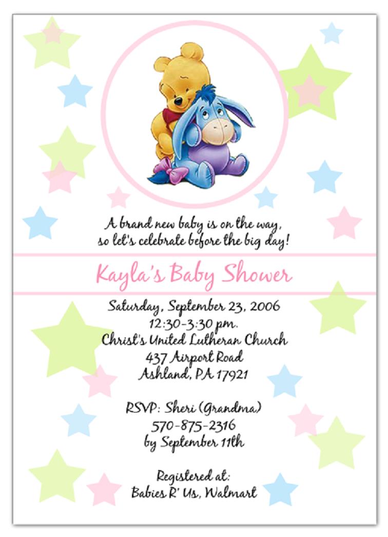Diy Winnie The Pooh Baby Shower Invitations