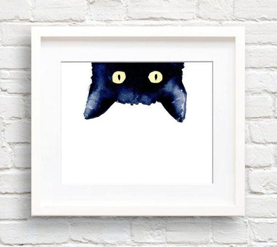 Photo of Schleichende schwarze Katze – Kunstdruck – Wand-Dekor – Aquarell