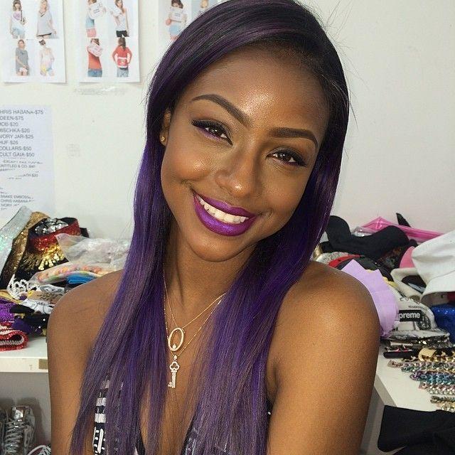 Top 13 Cute Purple Hairstyles For Black Girls This Season Dark Purple Hair Hair Color Purple Purple Hair