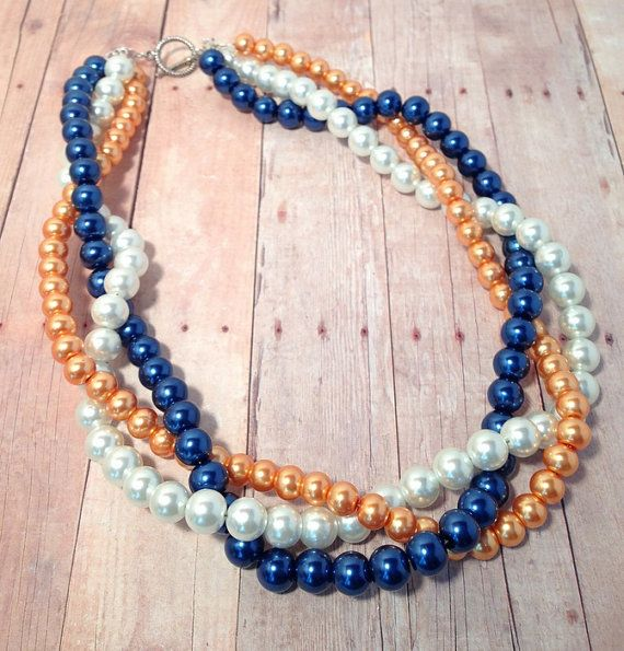 Orange, Blue and White Twisted Multi-Strand Beaded Pearl Necklace