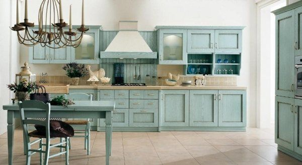 Country House Kitchen Interior Design Ideas Blue Vintage Kitchen