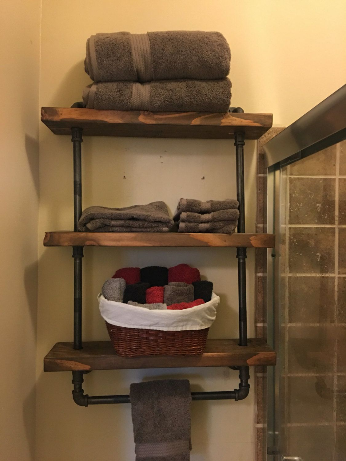 Industrial rustic wood and pipe shelves choose