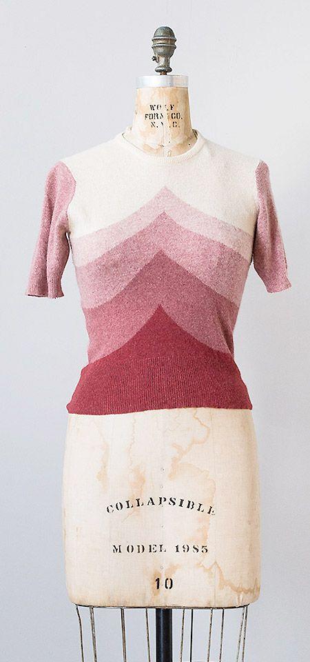 vintage 1940s knit top   Plum Melange Top