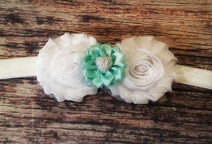 Baby Girl Valentines day Heart Headband! White Shabby Chic, Teal Satin Flower and Silver Heart! Beautiful! Newborn Headband. Photo Prop. by Chandrasbowtique on Etsy