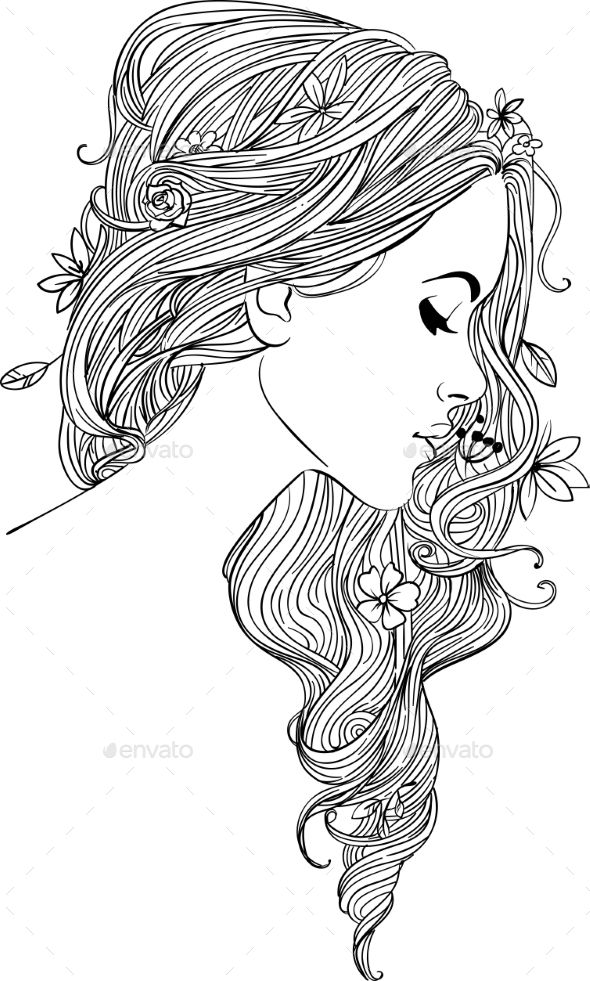 Young Woman With Flowers Coloring Book Art Coloring Pages Cute