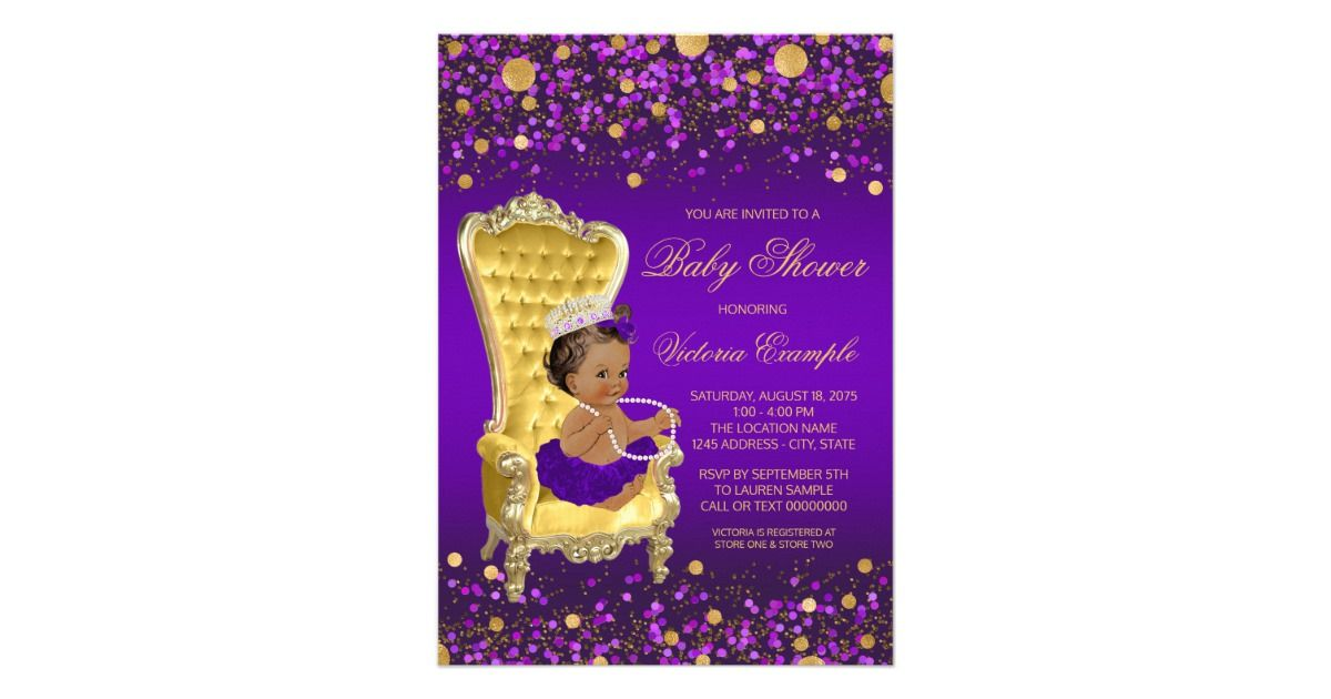 African American princess baby shower invitation with cute African ...