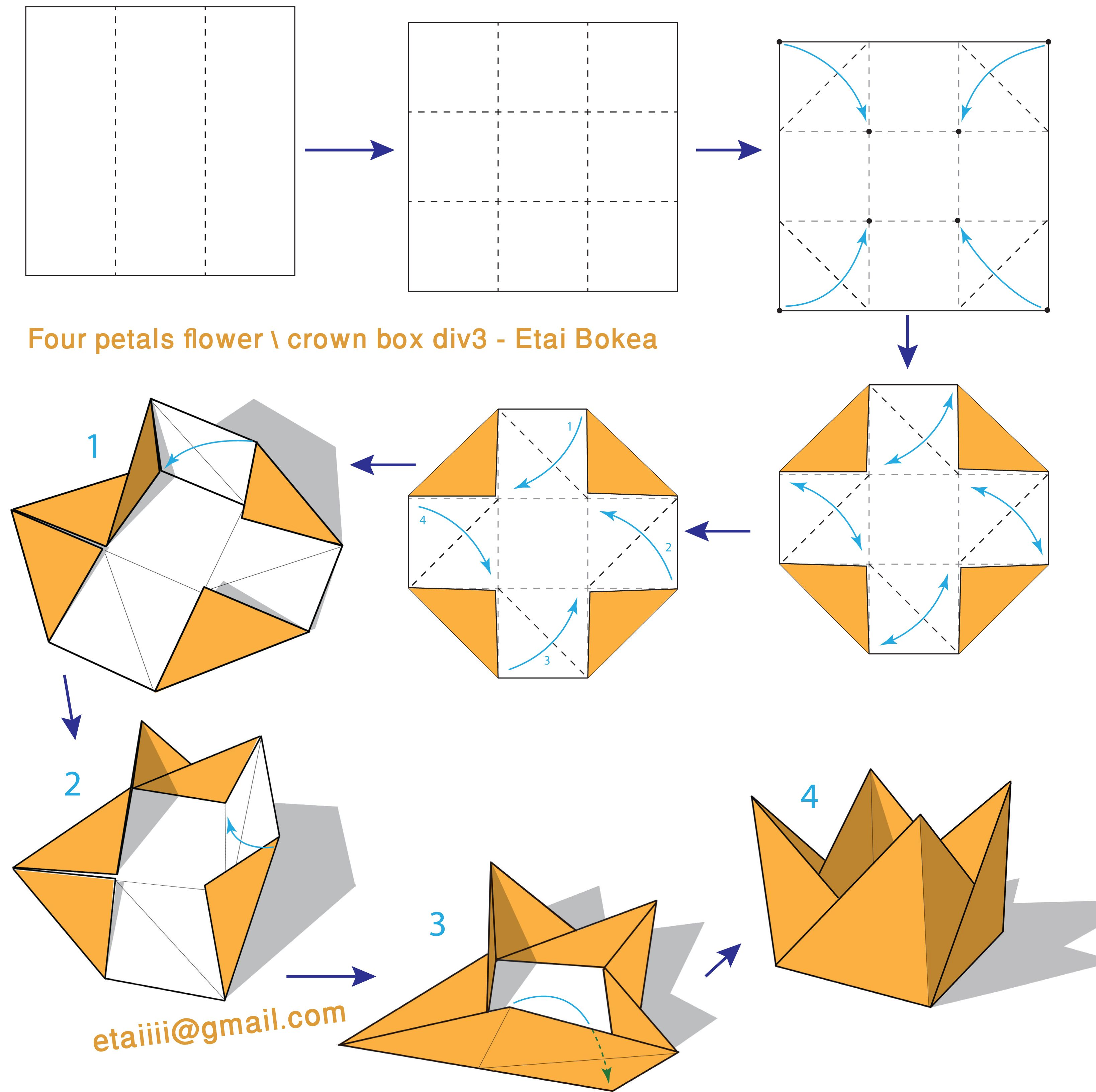 Flowerwith4petals Crownbox 33 Version Origami Paper Art