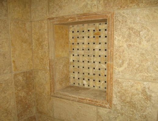 redi shower niche this tile job looks great basket weave mosaic tile