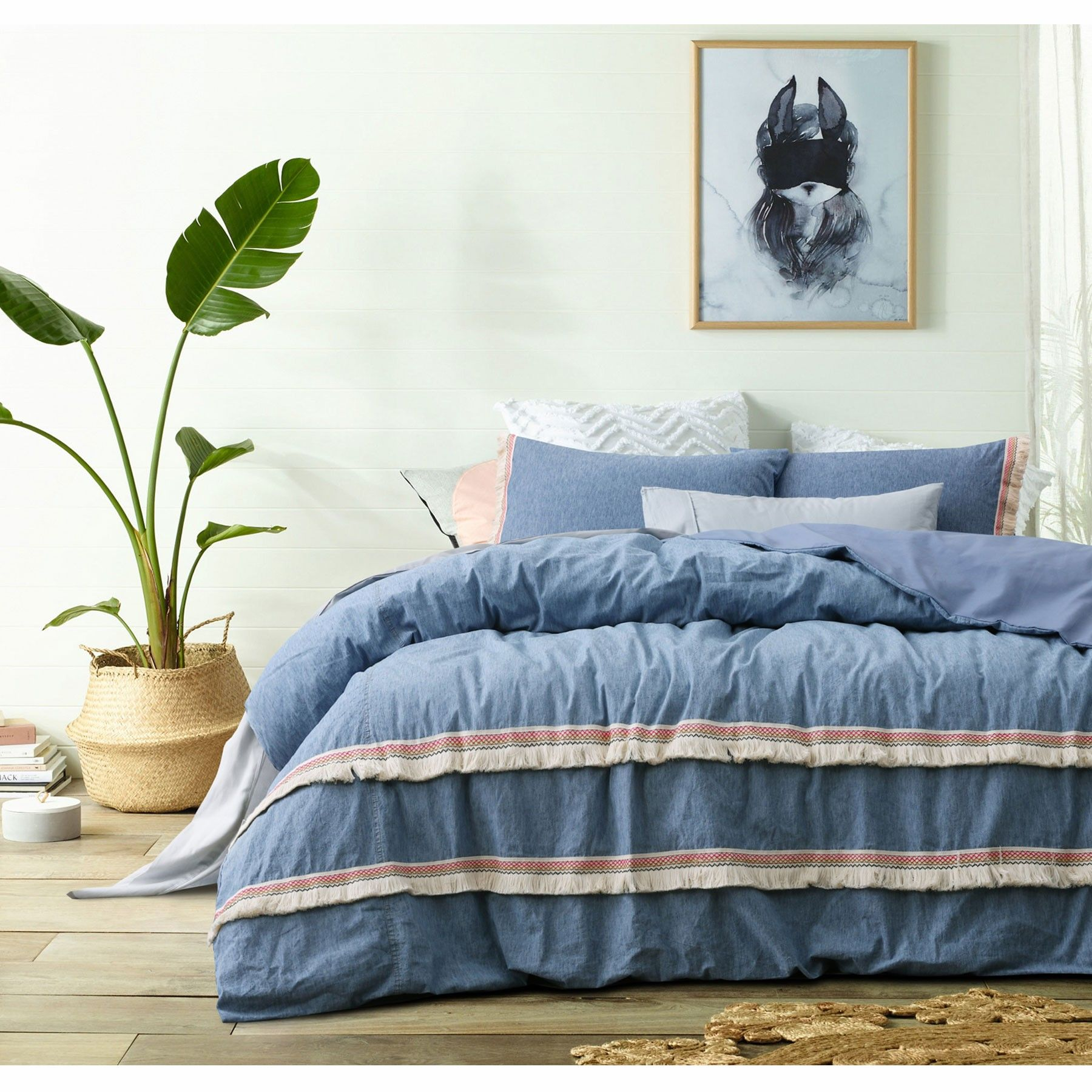 Denim Check Blue Poly Cotton Duvet Quilt Cover Pillowcases Bedding Set S D K Sfhs Org