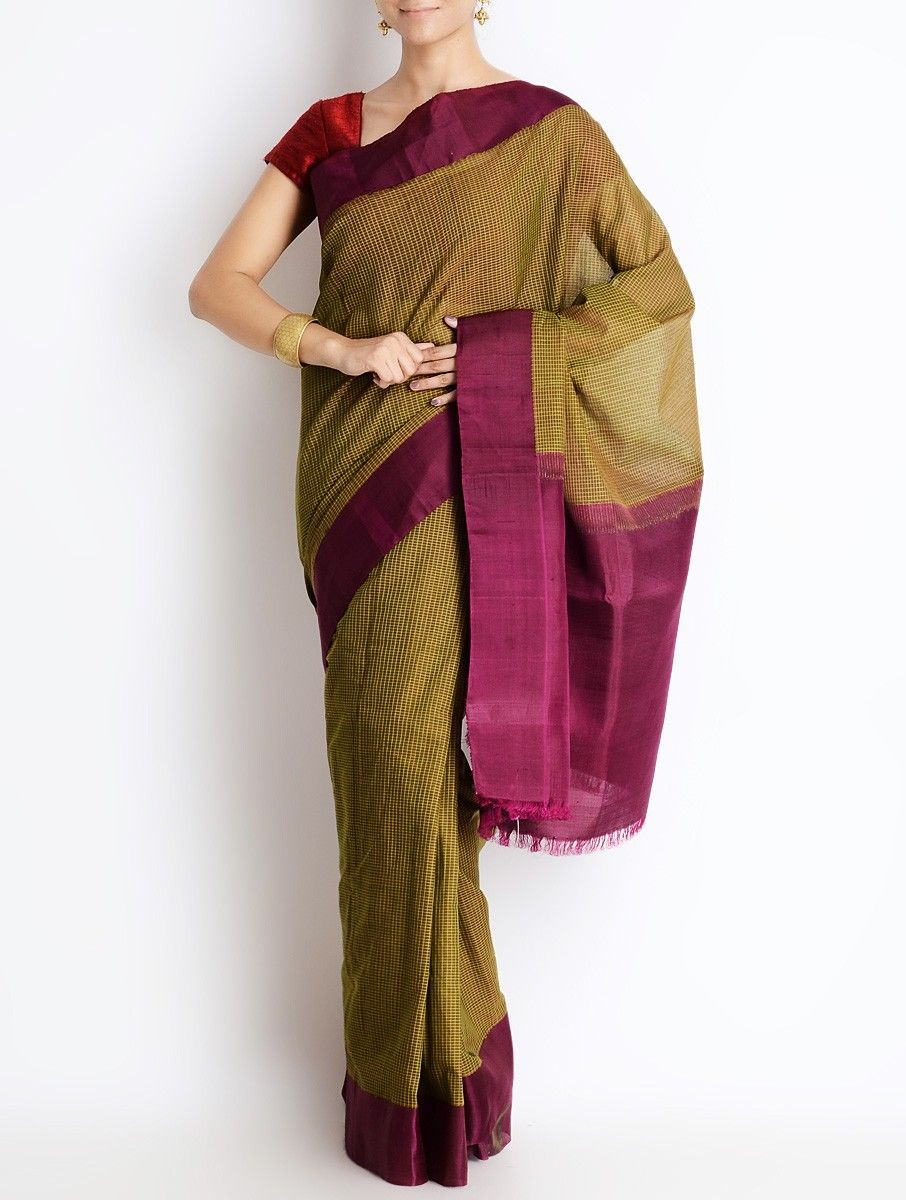 Buy Olive Wine Zari Silk Border Cotton Gadwal Saree Grandeur Sarees of Andhra Pradesh Online at Jaypore.com