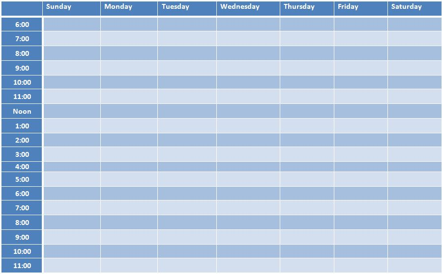Weekly Schedule Template  Weekly Timetable Schedule