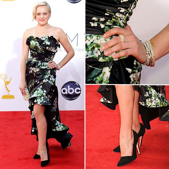 Elisabeth Moss at the Emmys 2012 (details)