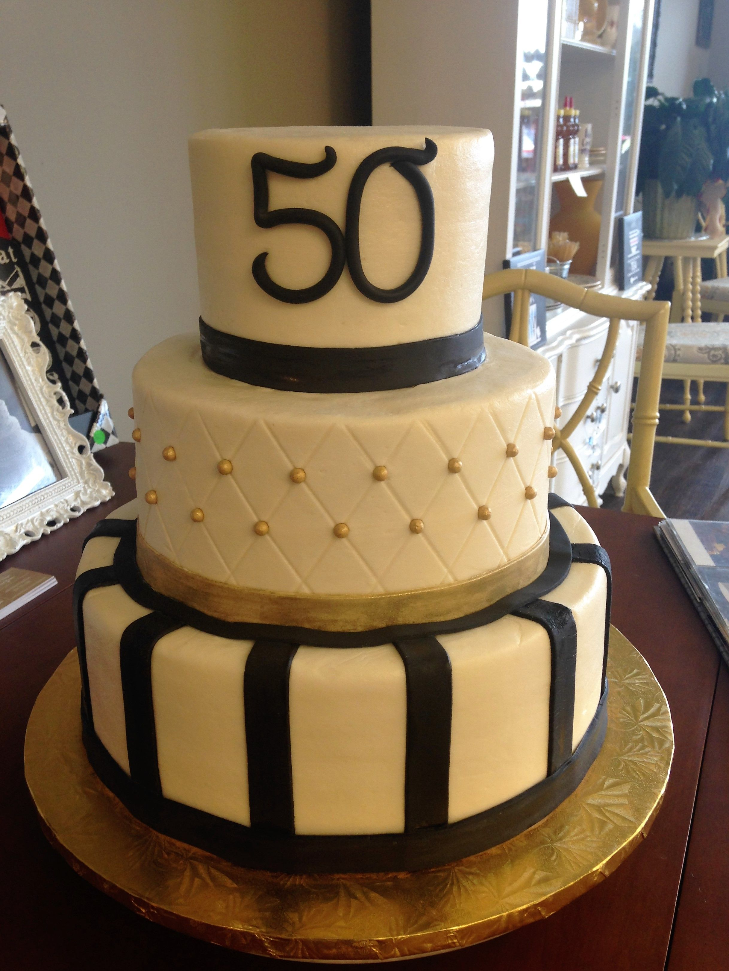 Gold And Black 50th Birthday Cake
