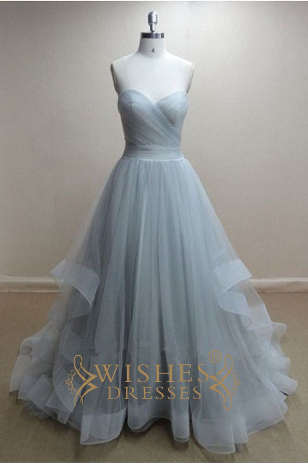 A-line Sky Blue Organza Long Prom Dress /Wedding Dress AM300 ...