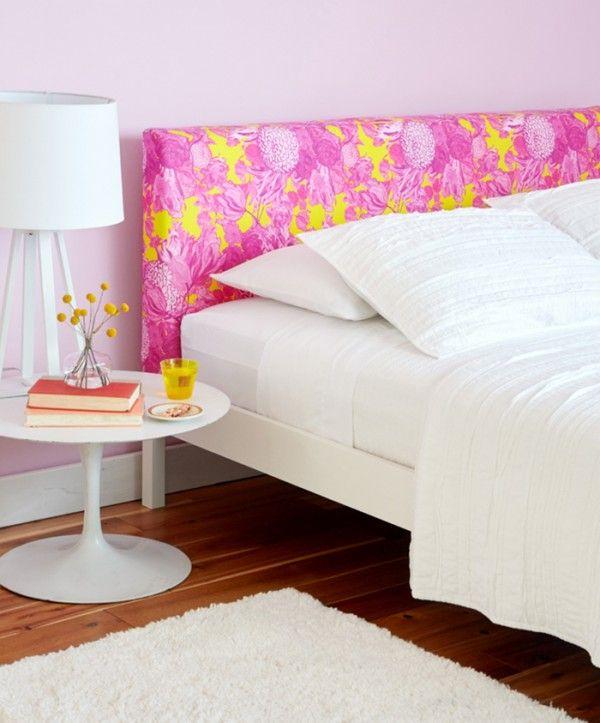 cabecero tapizado en rosa