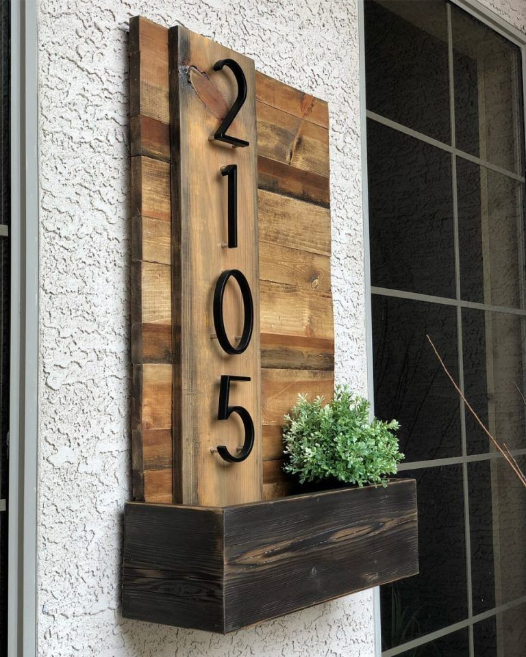 15 Creative House Number Ideas To Improve Curb Appeal Diy Wood Projects House Numbers Diy Home Decor