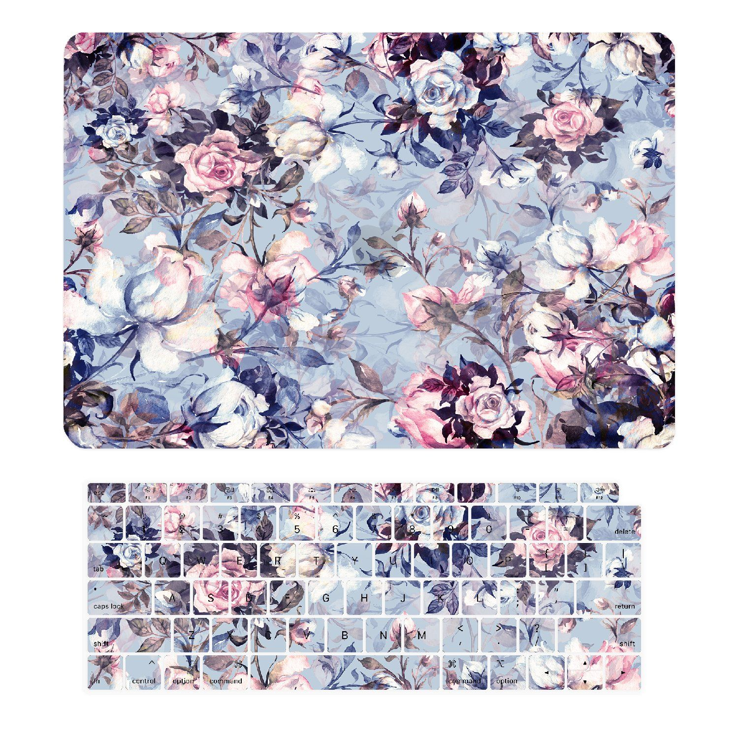 TOP CASE - 2 in 1 Victorian Series Graphics Rubberized Hard Case + Keyboard Cover Compatible with 2018 Release MacBook Air 13 Inch with Retina Display fits Touch ID Model: A1932 - Serenity Blue