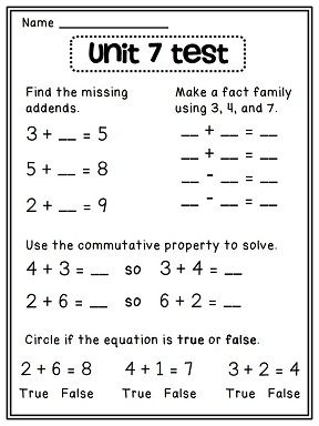 First Grade Math Unit 7 | Commutative property, Addition facts and ...